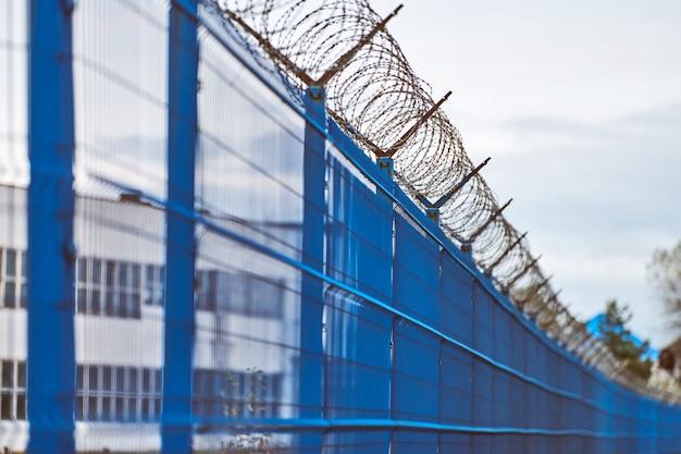 Fil de fer barbelé sur une clôture bleue de zone réglementée