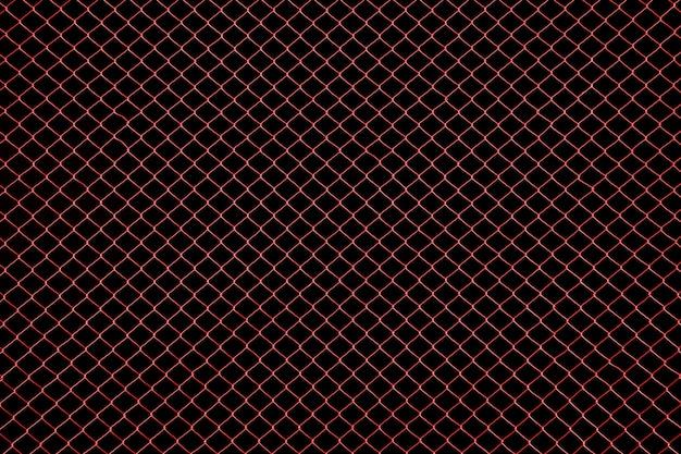 Fil métallique de cage rouge sur fond noir