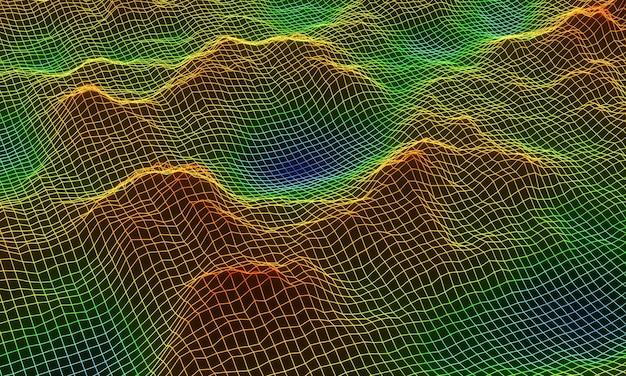 Filaire de grille de montagne topographique 3d.