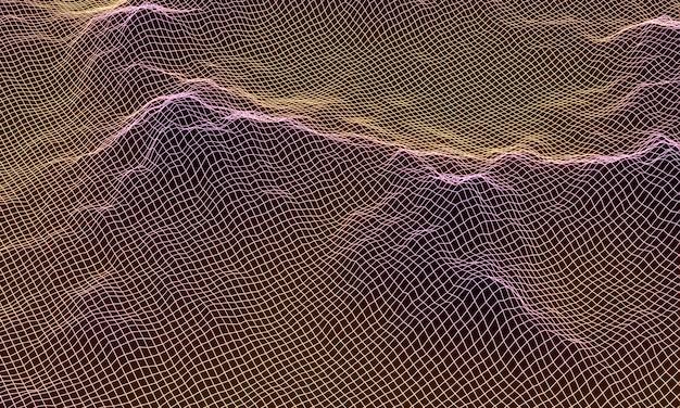 Filaire de grille de montagne topographique dégradé 3d.