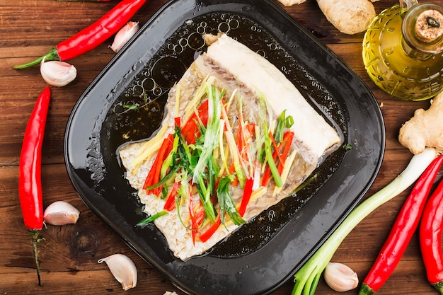 Filet de carpe à l'herbepoisson cuitpeau de poisson à la carpe cuite au gingembre et ciboule