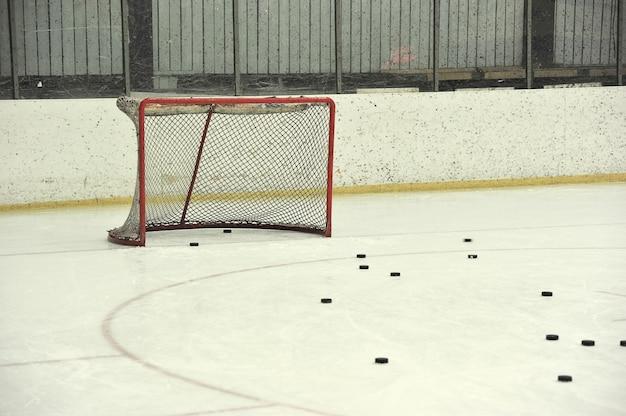 Filet de hockey blanc et rondelles