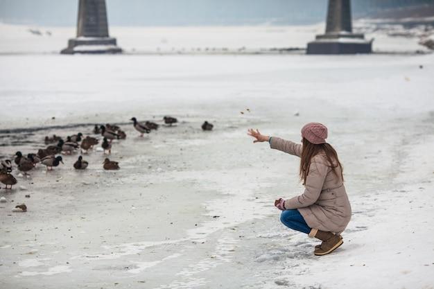 Fille adulte nourrir les canards sur la rivière gelée en hiver