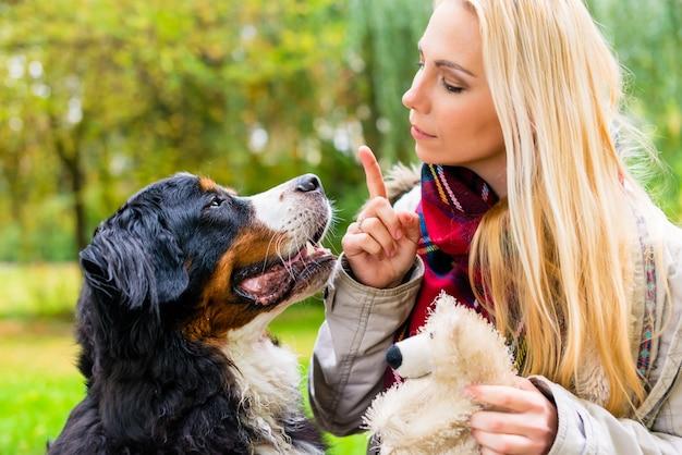 Fille en automne parc dressant son chien dans l'obéissance