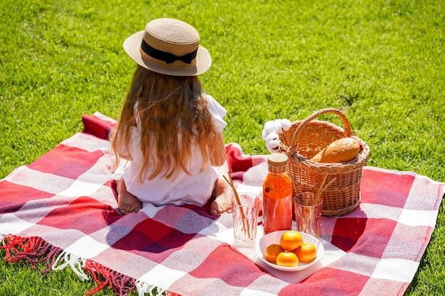 Une fille aux cheveux longs dans un chapeau s'assoit avec son dos un pique-nique dans le parc sur l'herbe verte à midi les écoliers vacances et voyage