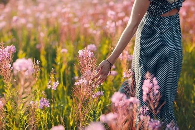 Fille sur le champ de fleurs sally en fleurs. fleurs et femme lilas