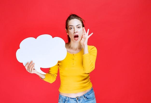 Fille en chemise jaune tenant un tableau d'informations en forme de nuage et a l'air surprise