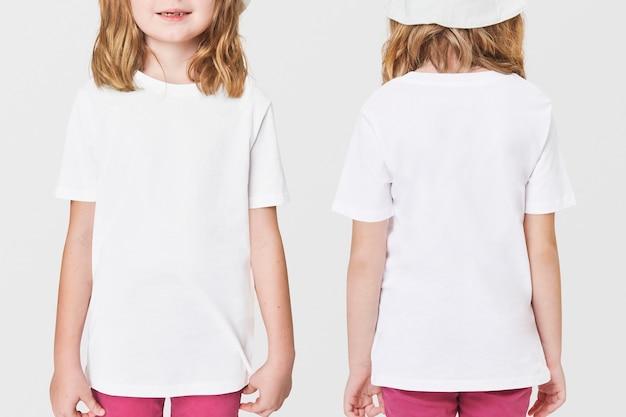 Fille décontractée en t-shirt blanc devant et derrière