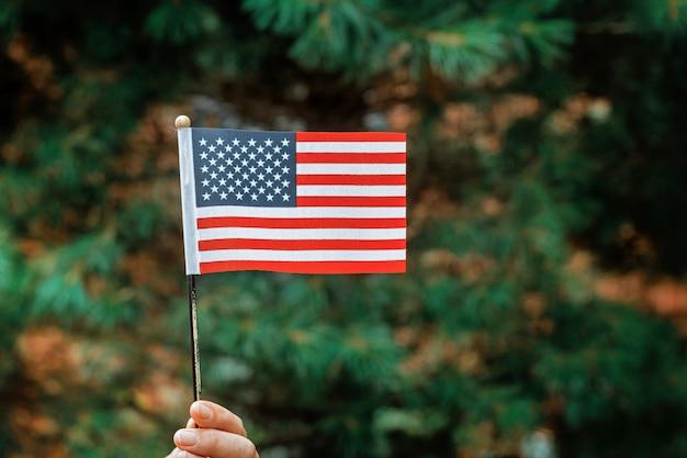 Fille avec drapeau américain