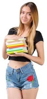 Fille étudiante avec des livres isolés