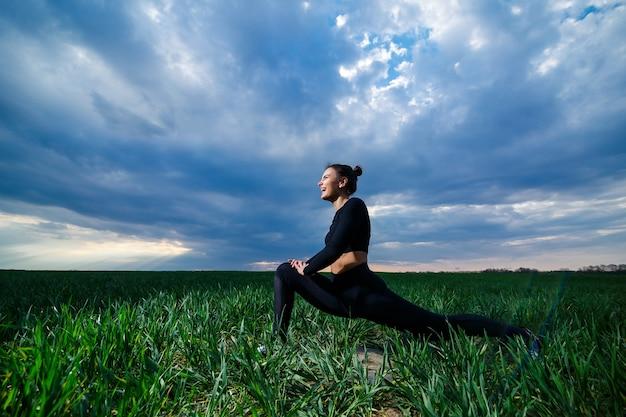 Fille flexible, acrobate, pont de gymnastique, poirier, femme gracieuse. dans la nature, effectue de belles poses pour la souplesse, un modèle sportif sur fond de ciel bleu.