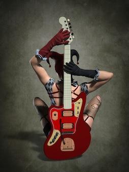 Une fille avec une guitare dans un costume de clown. illustration 3d