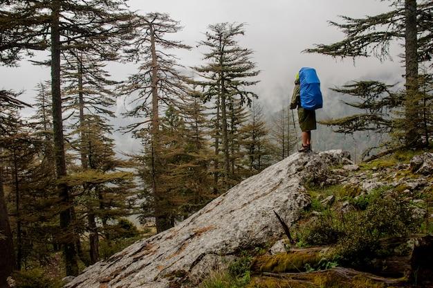Fille à l'imperméable debout sur le gros rocher avec sac à dos et bâtons de randonnée