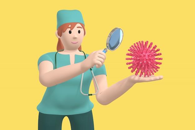 Fille jeune médecin scientifique regarde, étudie le virus à travers une loupe. molécule de sras personnage de dessin animé drôle et effrayant. halte aux maladies, pandémie, grippe, coronavirus