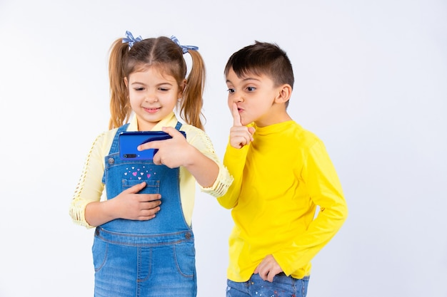 Une fille avec des nattes communique par vidéoconférence. le garçon montre tranquillement son doigt.