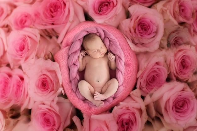 Fille nouveau-née endormie sur un fond rose doux avec des fleurs roses, close-up, copyspace