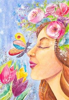 Fille avec un papillon sur son nez renifle des fleurs
