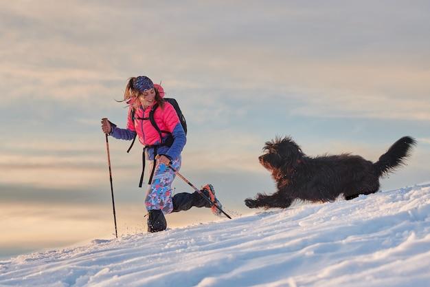Fille pendant la promenade dans la neige avec son grand chien d'amour