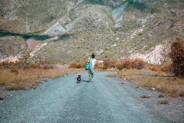 Fille qui marche avec un chien dans un paysage de montagne