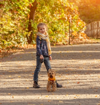Fille qui marche avec yorkshire terrier
