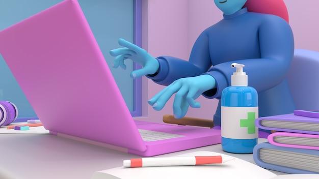 Fille de rendu 3d avec ordinateur portable assis sur la chaise à l'aide d'un ordinateur portable pour le travail en ligne ou l'apprentissage de l'éducation tout en quarantaine de coronavirus covid-19.freelance ou étudiant le concept. style d'illustration 3d mignon.