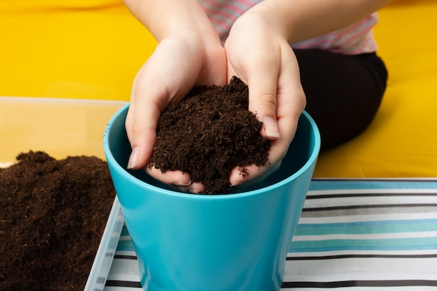Fille replantant une plante dans un pot
