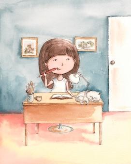 Fille rêveuse à la table avec un chat blanc