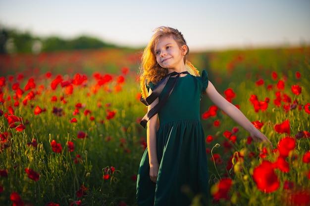 Fille en robe et chapeau de paille en plein air au champ de coquelicots au coucher du soleil
