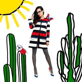 Fille saison printemps mode manteau mode collage art