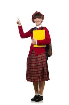 Fille en vêtements de tartan écossais isolé on white