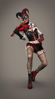 Une fille avec un violon dans un costume de clown. illustration 3d