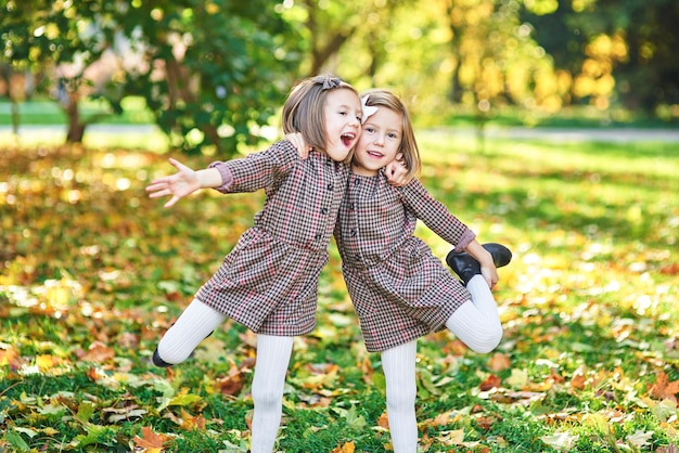 Filles jumelles s'embrassant