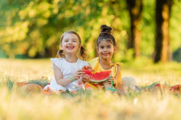 Les filles sont assises sur une couverture dans le parc et mangent une tranche de pastèque les enfants mangent des fruits en plein air