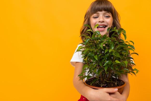 Filles, tenue, fait maison, fleur, pot, entre, mains, orange, fond, gros plan, copie, espace