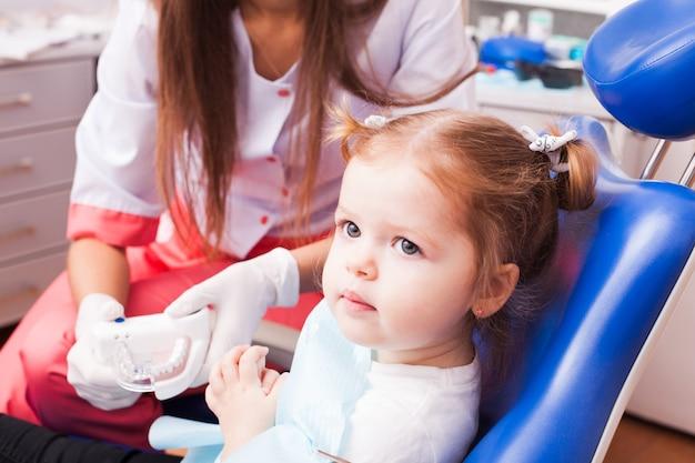 Une fillette de deux ans apprend à se brosser les dents avec une brosse à dents à la main dans le cabinet dentaire
