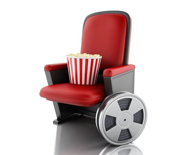 Film 3d et pop-corn sur le siège du théâtre.