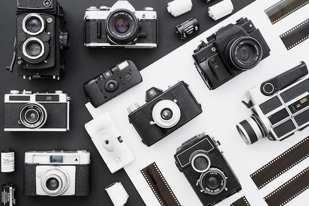 Film au milieu des caméras vintage