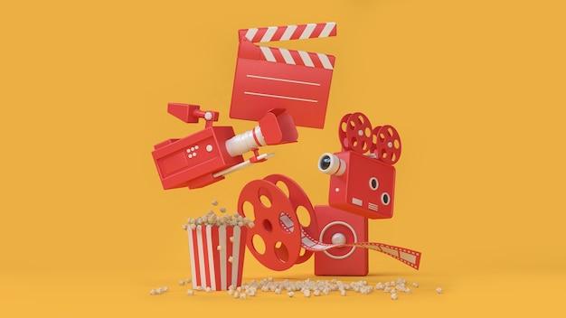 Film de caméra cinéma rouge rouleau pop-corn flottant