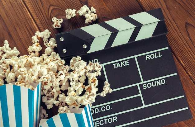 Film clapper board en pop-corn