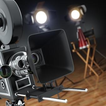 Film vidéo cinéma rétro caméra flash et chaise de réalisateur