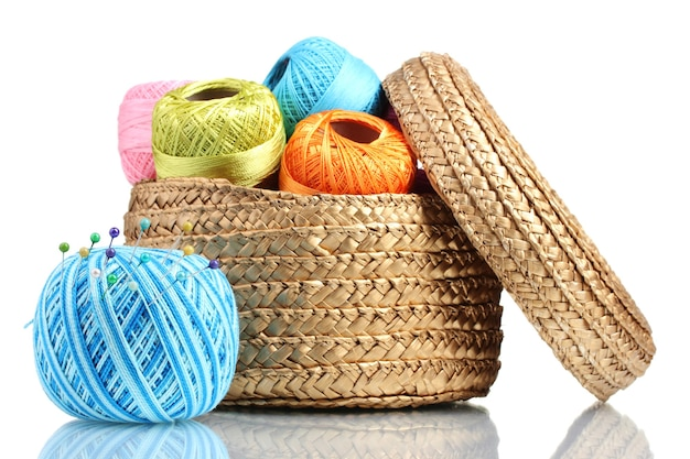 Fils brillants pour tricoter dans le panier isolated on white