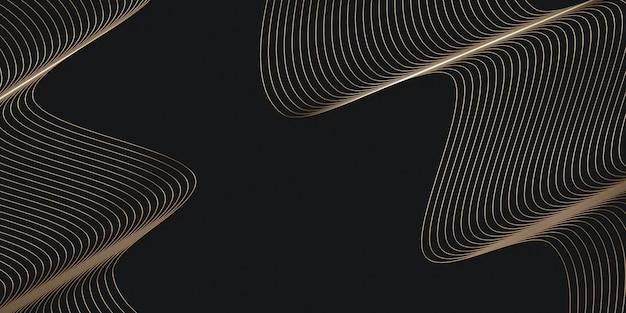 Fils dorés sur fond noir couverture du modèle de mise en page arrière-plan pour la présentation