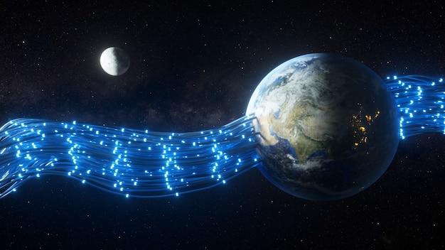 Les fils traversant la planète terre et lui donnant de l'énergie