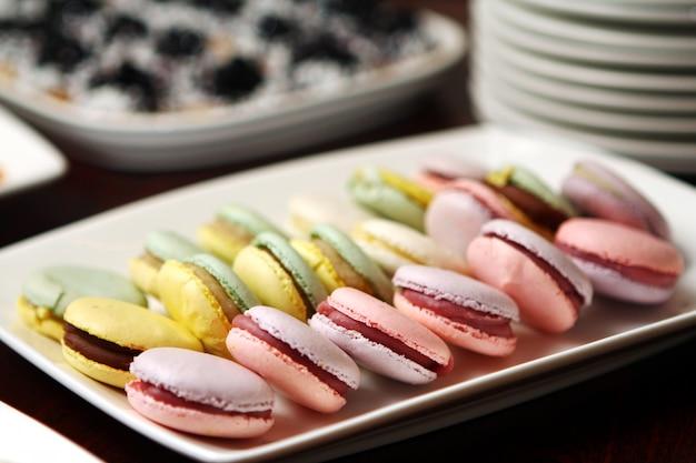 Fin, haut, macarons, dessert