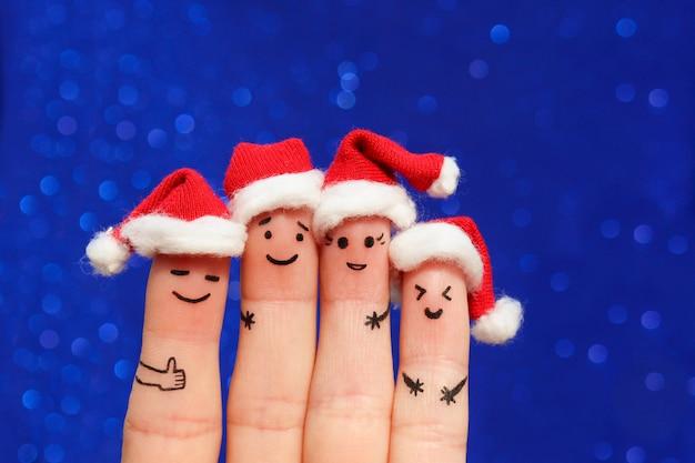 Finger art of friends célèbre noël