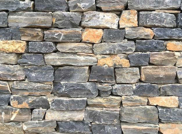 Finition de la maçonnerie du mur à partir de blocs de pierre naturelle colorés garniture comme arrière-plan vue de face close up
