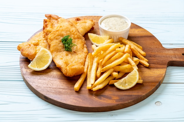 Fish and chips avec des frites