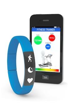 Fitness tracker bleu avec téléphone mobile sur fond blanc