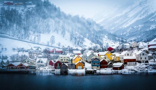 Fjords norvégiens en hiver