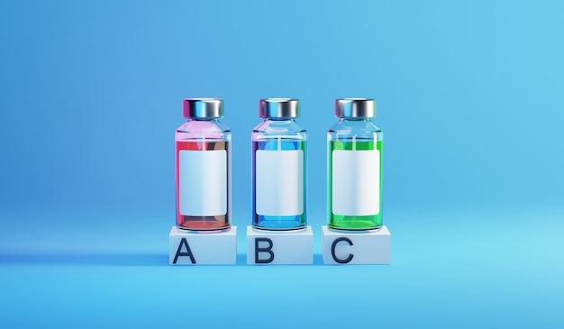 Flacon de bouteille de modèle d'infographie de vaccin covid-19. illustration de rendu 3d.